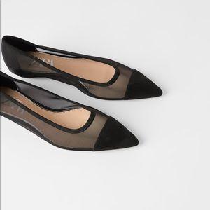 NWT Zara Black Mesh Ballet Flats